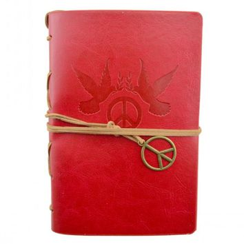 Peace & Doves Leather Journal Planner Organizer