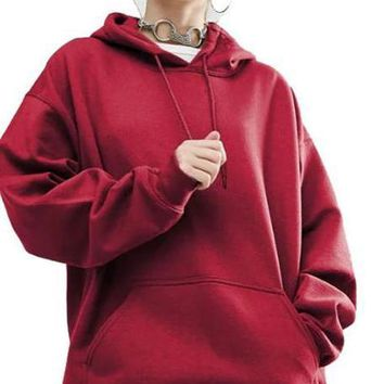 HDY Haoduoyi Fashion Solid Color Women Hoody O-neck Long Sleeve Loose Casual Tops Women Pocket Front Basic Pullovers Hoodies