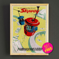 Vintage Disnyland Skyway Poster Tomorrowland Attraction Print Home Wall Decor Gift Linen Print - Buy 2 Get 1 FREE - 359s2g