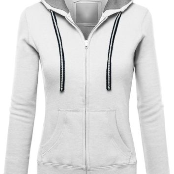 Zipper Drawstring Pockets Solid Color Slim Hoodie
