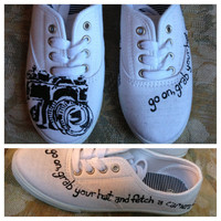 Camera photography canvas painted sneakers