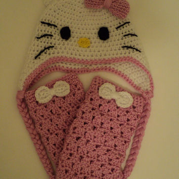 Hello Kitty Inspired Crochet Hat and Leg Warmers Set - Size 12 months