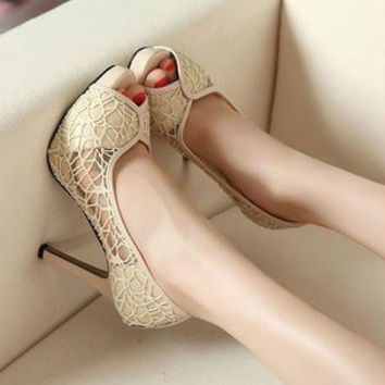 2016 new summer Korean lace mesh sexy sandals fish head high-heeled shoes waterproof women shoes free shipping