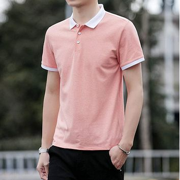 Mens Polo Shirt with Contrasting White Collar