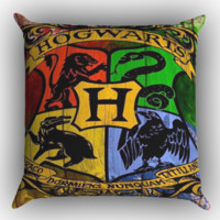 Harry Potter Hogwarts Logo wood Z0295 Zippered Pillows  Covers 16x16, 18x18, 20x20 Inches