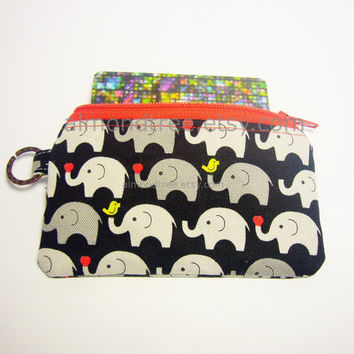 Black Elephant handmade fabric zip purse id1340455 for card, coin, thumbdrive, work lanyard tag, jogging purse, zip wallet