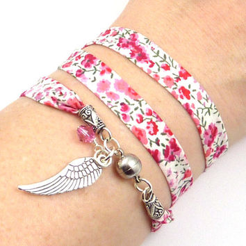 Angel Wing Wrap Bracelet, Liberty of London Ribbon, yoga jewelry, yoga bracelet