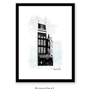 Amsterdam Print, Amsterdam Wall Art, Amsterdam Poster, Amsterdam Houses, Amsterdam Architecture, Modern Wall Art, Canal House Amsterdam