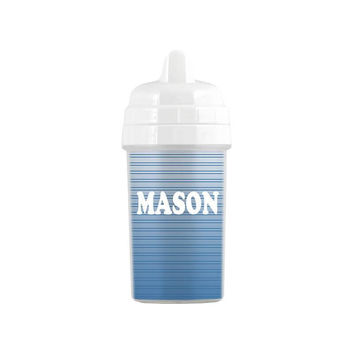 Personalized Steel Blue Striped Gradient Sippy Cup