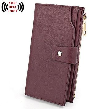 UTO Womens RFID Blocking Large Capacity PU Leather Clutch Wallet 21 Card Slots Holder Organizer Ladies Purse with Wristlet