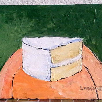 YELLOW LAYER CAKE Original Oil Painting Dessert Kitchen Food Art 8x10 Free Shipping Lynne French
