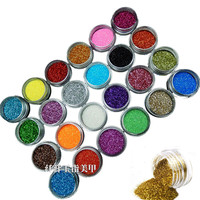 New 24 Color Metal Glitter Nail Art Dust Tool Kit Acrylic UV Powder Dust gem Polish Nail Tools Nail Art Decoration Nail Glitter