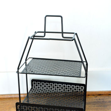 Vintage Black Wire Storage Shelf, Metal Magazine Rack, Mid Century Modern, Plant Stand, Two Tiers, Double Shelf
