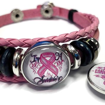 Breast Cancer Sucks Awareness Snaps On Pink Leather Bracelet W/2 Snap Jewelry Charms New Item