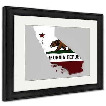 Framed Print, California Map With Flag Isolated On Gray With Clipping Path