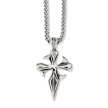 Stainless Steel Polished & Antiqued Dagger Cross 22in Necklace SRN1045