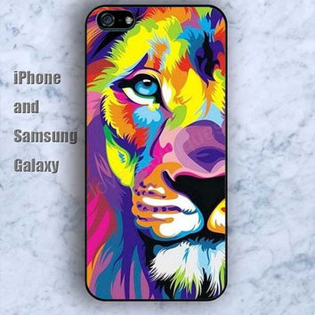 Watercolor lion animal iPhone 5/5S case Ipod Silicone plastic Phone cover Waterproof