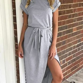 Drift Ashore Light Grey Short Sleeve Crew Neck Wrap Skirt Tie Belt Casual Maxi Dress
