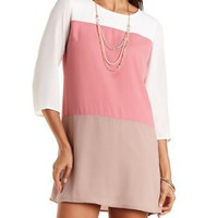 Color Block Chiffon Shift Dress by Charlotte Russe - Mauve Combo
