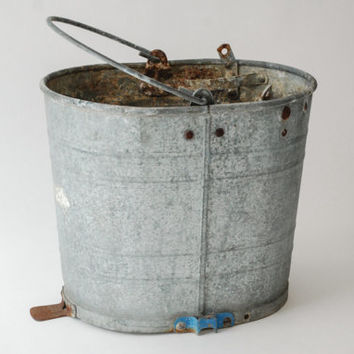 galvanized bucket, antique pail, antique bucket, metal bucket, mop pail, unique hardware elements, heavy duty, large, oval, vintage
