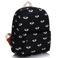 Black Eyes Printed Canvas Backpack College School Bag Travel Daypack