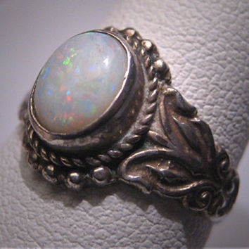 Vintage Australian Opal Ring Wedding Victorian Silver Ornate Setting