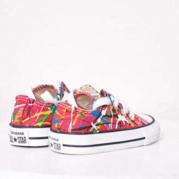 DCKL9 Baby LowTop Splatter Painted Converse Sneakers Infant Size 3, Primary Colors