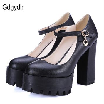Gdgydh Good Quality 2017 Spring High Heels Women Shoes Large Size 42 Thick Heel Platform Women Pumps Casual Shoes Russian Party