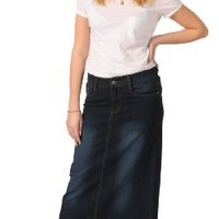 Long Denim Skirt - Indigo Womens Blue Full Length (SKIRT45)