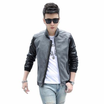 Tengo Brand Men's Jacket Spring Autumn Fashion Casual Slim PU Leather Bomber Jackets Coats Outerwear Overcoat Plus Size 5 Colors