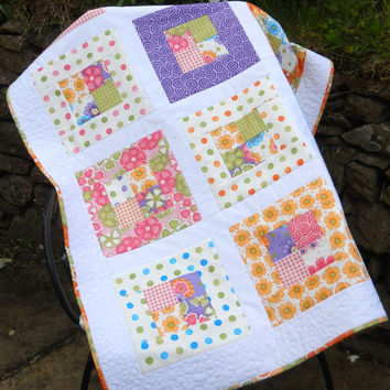 Baby girl Quilt, Baby Quilt, Cot Quilt, Child's Comforter, Summer Bright Baby Quilt.
