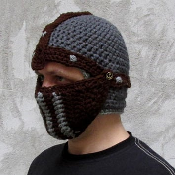 Knight helmet crochet pattern, Crusader helmet crochet pattern,