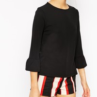 ASOS Top In Crepe With Bell Sleeve