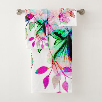 Watercolor flowers Bathroom Towel Set