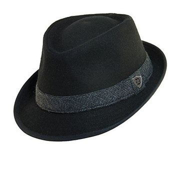 Dorfman Pacific Mens Wool Herringbone Band Classic Fedora Hat (Black, Medium)