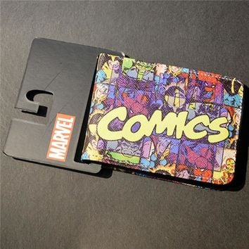 Mens Slim Leather Wallet Comics Dc Marvel The Avengers Thor Hulk Spiderman Purse Logo Credit Oyster License Card Wallet