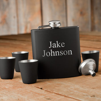 Personalize a Matte Black Flask & Shot Glass Gift Box Set