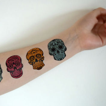 Candy Skull Temporary Tattoo - Set of 4 - Green, Pink, Yellow, Blue, Fandom