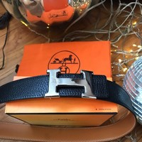 hermes belt with silver buckle