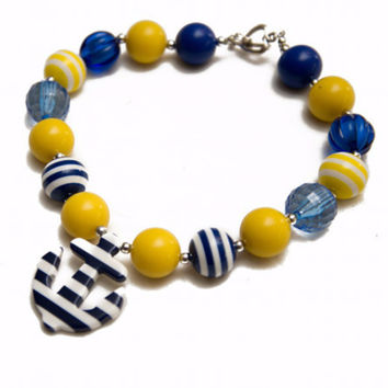 Navy & Yellow Chunky Anchor Necklace