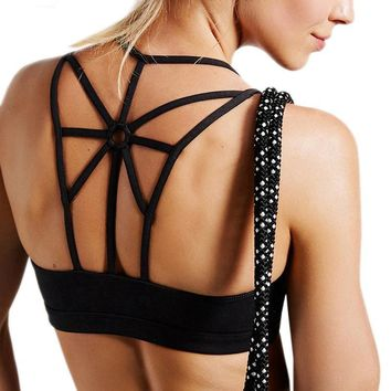 Sexy Strappy Back Fitness Sport Bra Women Shockproof Breathable Running Yoga Bras