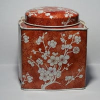 Vintage Daher Tin Cherry Blossoms Tea Tin Red and White Oriental Style