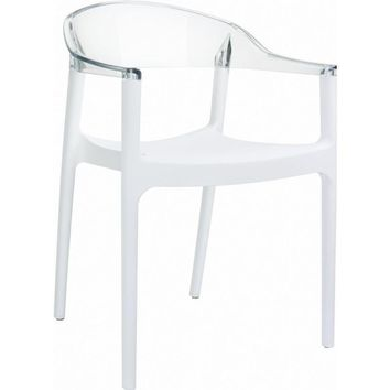 Carmen Modern Dining Chair White Seat Transparent Clear Back (Set of 4)