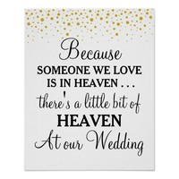 Tribute heaven loved ones gold dots wedding sign