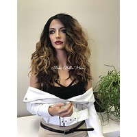 Ombre' Wavy Balayage Human Hair Blend Deep Multi Parting Lace Front Wig - Danni