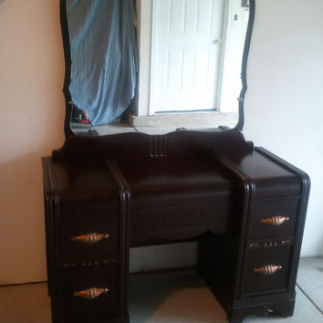 Antique Vanity Dresser with Mirror and Copper Pulls including Lush Bench
