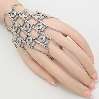 Lattice Warrior Exotic Hand Chain, Hand Chain Slave Bracelet, Ring Bracelet, Hand Chain Jewelry, Finger Bracelet - RH