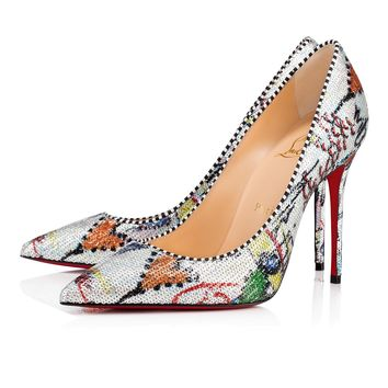 Decollete 554 100 Silver Loubitag Paillette - Women Shoes - Christian Louboutin