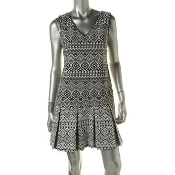 Jessica Simpson Womens Box Pleat Cross Back Cocktail Dress
