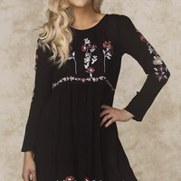Selena Embroidered Floral Dress Black